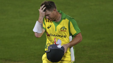 David Warner reacts as he walks off the field after being dismissed by England's Jofra Archer.