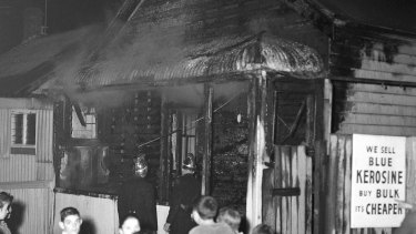A cracker is blamed for a fire which badly damaged this house in Northwood Street, Newtown,  on Cracker Night, 23rd May 1959.