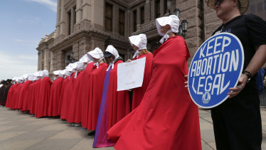 Women in Texas protesting against abortion restrictions.