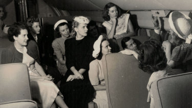 The three-week familiarisation course undertaken by the first intake of Qantas hostesses in February 1948. Patricia Burke is on the left.