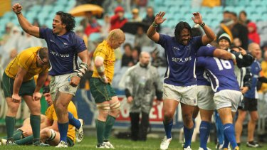 The 32-23 win at ANZ Stadium was Samoa's first over Australia.