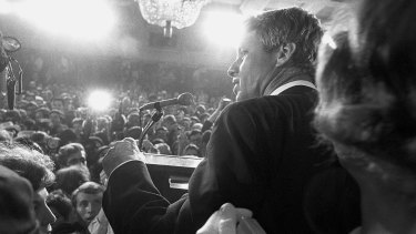 Bobby Kennedy at a California primary victory rally, minutes before his shooting.