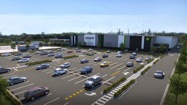 An artist's impression of the new Amazon fulfilment centre at Goodman Group's Port Industry Park in Brisbane.