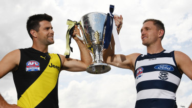To the winner the spoils: Trent Cotchin and Joel Selwood.