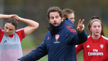 Wanted man: Arsenal coach Joe Montemurro has been headhunted by England to replace Phil Neville.