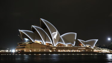 The Silver Fern of New Zealand is displayed on the Sydney Opera House as a show of support and respect for the people of New Zealand.
