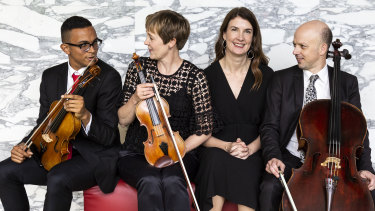 Martin Alexander (left) with the Seraphim Trio Helen Ayres, Anna Goldsworthy and Tim Nankervis.