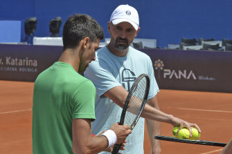 Goran Ivanisevic, right, pictured with Novak Djokovic during the exhibition tournament in Croatia this month.