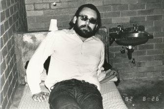 "James ""Jim Jim"" Brandes, aka Sleepy Jim, was sent from the US to Australia by the Hells Angels to kill policemen Bob Armstrong and Steele Waterman. Seen here after being detained at Melbourne Airport in August 1982."