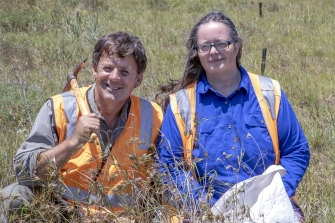 John Bradford, ecologist and contractor on the Sunshine diuris project, with Karen Lester, senior biodiversity officer of the Victorian Department of Environment, Land, Water and Planning.