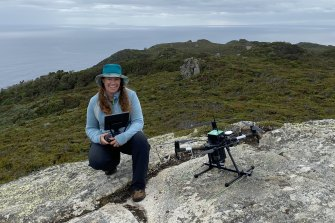 Ecologist Debbie Saunders with her wildlife-tracking drone.