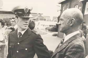 Geoff McEvoy graduating from the Police Depot with his father Stan.