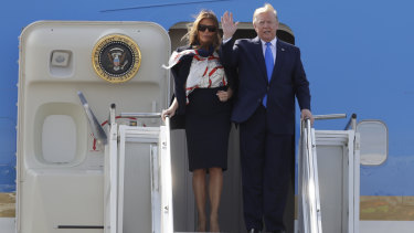 President Donald Trump and first lady Melania Trump arrive at Stansted Airport in England on Monday.