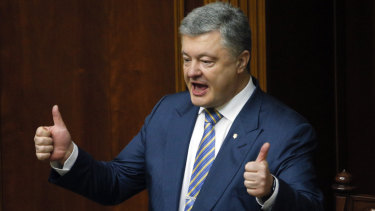 Ukrainian President Petro Poroshenko gestures during a parliament session in Kiev last week.