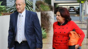Kim Dorsett (right), mother of Kate Goodchild and Luke Dorsett, arrives for the inquest.