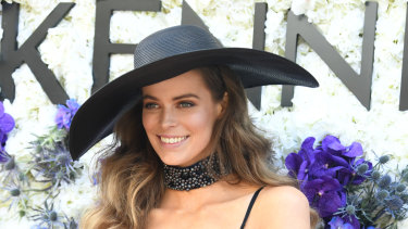 Robyn Lawley is seen at the Birdcage on Victoria Derby Day at Flemington Racecourse in Melbourne, Saturday, November 4, 2017.