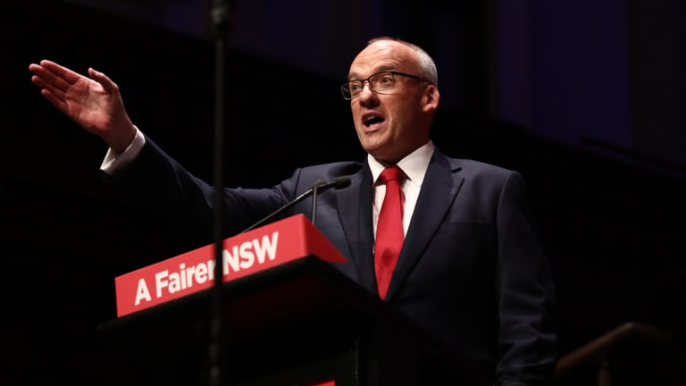 Opposition leader Luke Foley addresses the Labor conference on Saturday.