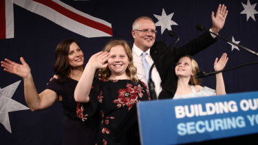 Prime Minister Scott Morrison speaks to Liberal Party supporters at his election party at the Sofitel Wentworth in Sydney.