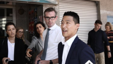 Treasurer Dominic Perrottet with the NSW candidate for Kogarah Scott Yung on Wednesday.