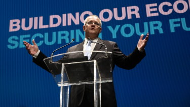 Prime Minister Scott Morrison at the Coalition campaign launch in Melbourne.