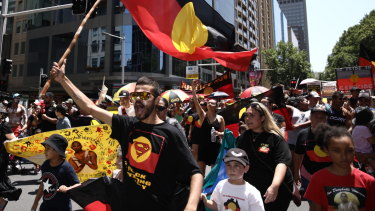 An Invasion Day rally in Sydney on Saturday.