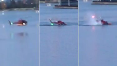 Stills from footage posted on social media showing the helicopter hitting the water.