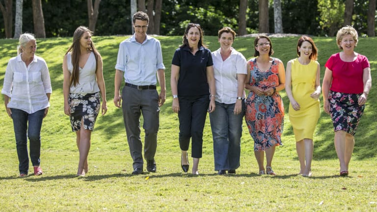 Annastacia Palaszczuk (fourth from right) with winning Labor candidates (left to right) Kim Richards (Redlands), Meaghan Scanlon (Gaven), Bart Mellish (Aspley), Melissa McMahon (Macalister), Charis Mullen (Jordan), Jess Pugh (Mount Ommaney) and Corinne McMillan (Mansfield)  at Seventeen Mile Rocks on Sunday.