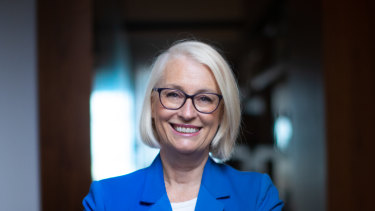 Melbourne lord mayor Sally Capp, photographed at her front door (candidates are prevented from campaigning outside their homes under stage four restrictions).