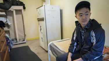 Benjamin Law in a boarding house on Filthy Rich & Homeless.