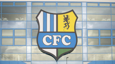 The logo of the Chemnitz FC soccer club at a stadium in Chemnitz, Germany.
