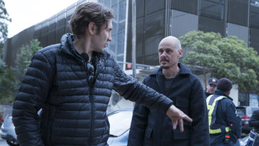Director Nash Edgerton (left) and actor-writer Scott Ryan on set.