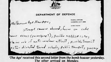 The second letter received by 'The Age' from the bomb hoaxer.