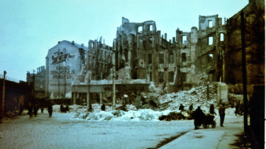 Survivors look for firewood in the aftermath of the destruction of Dresden in February, 1945.