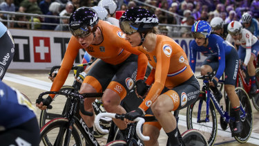 Kirsten Wild and Amy Pieters of The Netherlands compete during the women's madison at the UCI Track Cycling World Championships Berlin.
