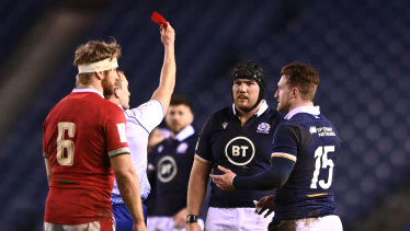 Scotland player Zander Fagerson reacts after being sent off during the Six Nations match between Scotland and Wales at Murrayfield on February 13, 2021 in Edinburgh, Scotland.