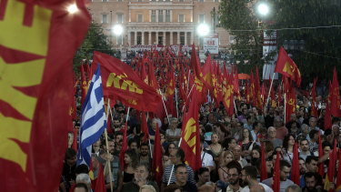 Supporters participate in Greece's Communist Party (KKE) main pre-election rally in central Syntagma square in Athens last week.