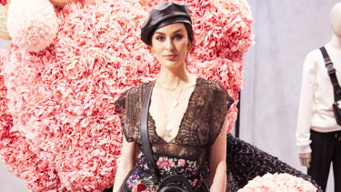 Nicole Trunfio dressed in goth-chic at the pop-up event.