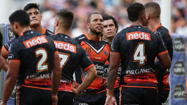 The Tigers assume a familiar position behind their own posts during Sunday's loss to Manly.