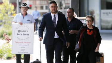 Mr Hayne with his lawyer outside court on Friday.