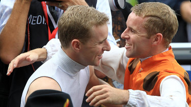 Tommy Berry (right) and his late brother Nathan after the 2013 Golden Slipper.