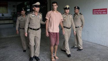 Hakeem al-Araibi in shackles.
