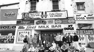 Members of the Cronulla Boardriders in front of Joe's Milk Bar in 1996.