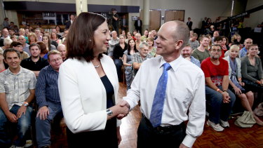 Annastacia Palaszczuk and Campbell Newman at the Sky News forum in 2015.