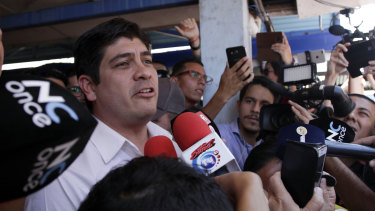 Successful presidential candidate Carlos Alvarado talks to the press after voting in the presidential runoff election in San Jose, Costa Rica, on Sunday,
