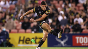Nathan Cleary kicks the match-winning field goal against the Roosters last week.