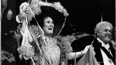 Dame Joan Sutherland during a curtain call for the Merry Widow in 1988.