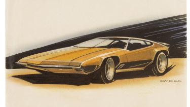 Phillip Zmood, GTR-X Torana, c.1970; ink, pencil, paper.