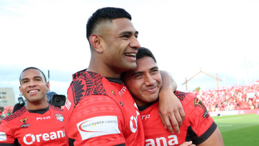 Tonga stars Daniel Tupou and Jason Taumalolo at the 2017 World Cup.