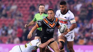 Emerging: Luke Brooks played a key role in the Tigers' heavy victory over Penrith.