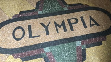 The decorative tiled floor of the old Olympia Milk Bar in Stanmore.